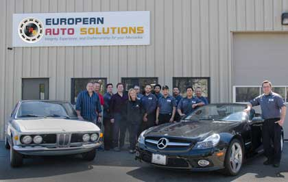 European Auto Solutions team of Mercedes-Benz and BMW specialists at our facility at 1486 Main St., Waltham, MA